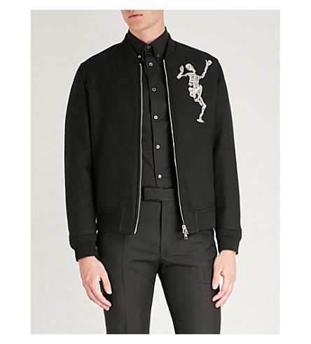 ALEXANDER MCQUEEN 舞蹈骨架羊毛和丝绸混合飞行员夹克 (黑色