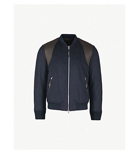 ALEXANDER MCQUEEN Camel-hair and leather bomber jacket (Navy