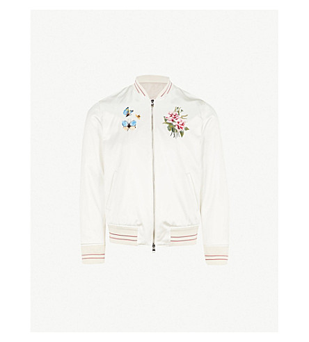 ALEXANDER MCQUEEN Floral-embroidered cotton and silk-blend bomber jacket (White