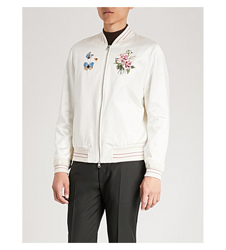 silk Floral MCQUEEN White jacket blend embroidered bomber and ALEXANDER cotton FqXnw5xTqd