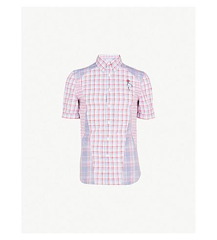 ALEXANDER MCQUEEN 布拉德·皮特方格修身版型棉府绸衬衫 (白 + 红