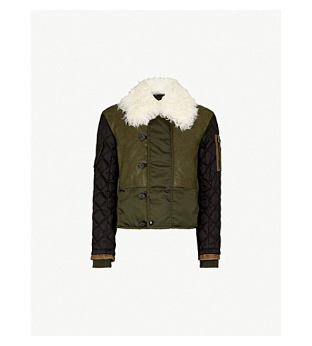 ALEXANDER MCQUEEN Deconstructed shearling-trim shell and leather jacket (Forest