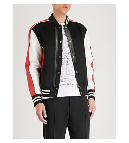 ALEXANDER MCQUEEN 对比板革和梭织飞行员夹克 (黑色