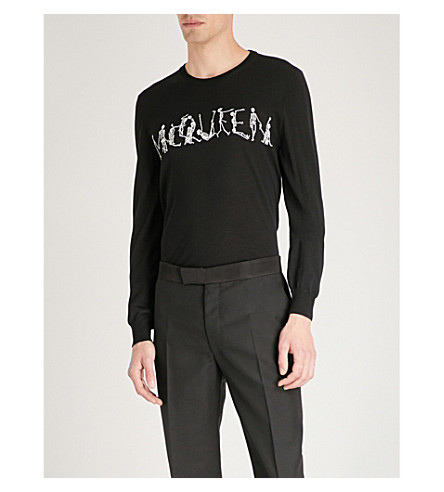 ALEXANDER MCQUEEN Skeleton-intarsia wool jumper (Black