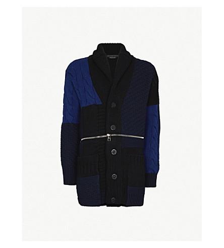 ALEXANDER MCQUEEN 混合针织羊毛开襟衫 (海军