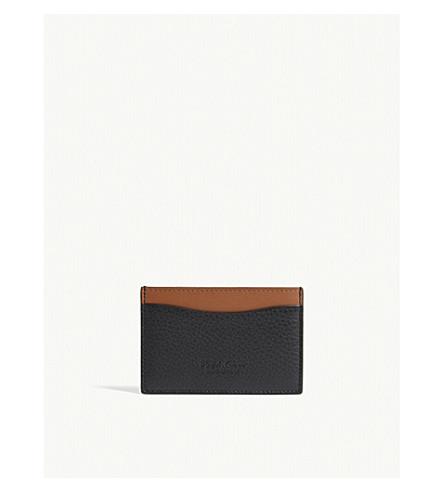 RALPH LAUREN PURPLE LABEL Two-tone leather card holder (Black