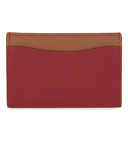 RALPH LAUREN PURPLE LABEL Two-tone leather card holder (Red