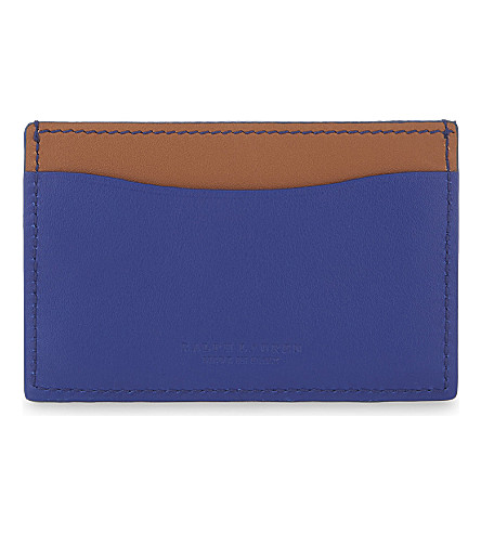 RALPH LAUREN PURPLE LABEL Two-tone leather card holder (Royal