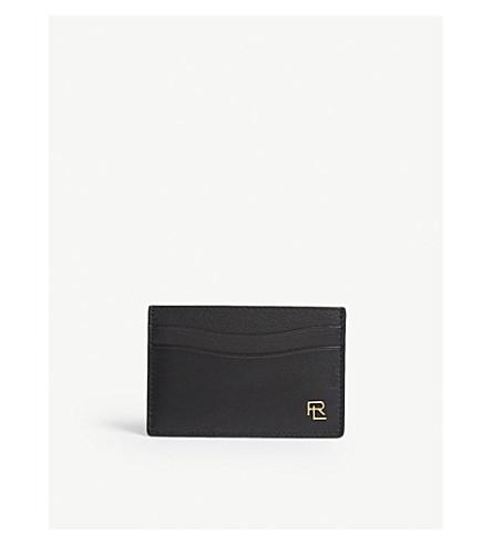 RALPH LAUREN PURPLE LABEL Initials leather card holder (Black