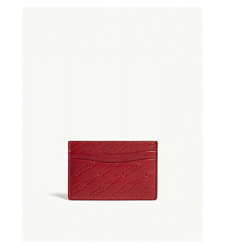 RALPH LAUREN PURPLE LABEL Embossed car leather card holder (Red