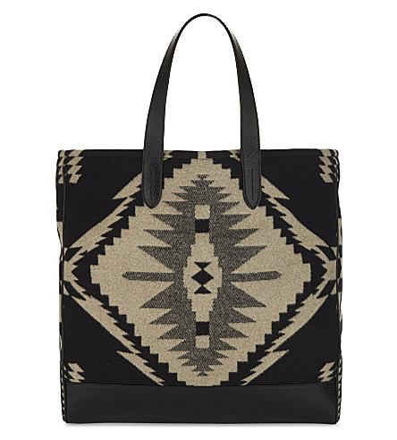 RALPH LAUREN PURPLE LABEL Navaho easy leather and wool tote (Black