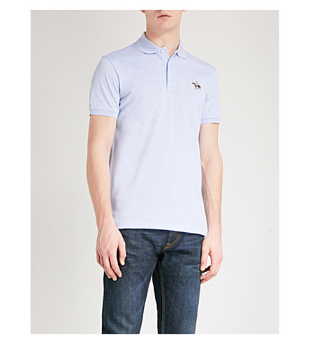 RALPH LAUREN PURPLE LABEL Logo cotton-piqué polo shirt (Blue