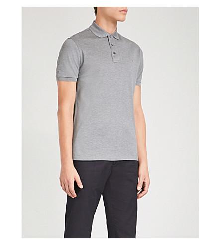 RALPH LAUREN PURPLE LABEL Slim-fit cotton-piqué polo shirt (Medium+grey