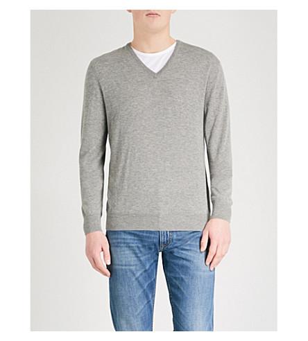 RALPH LAUREN PURPLE LABEL V-neck cashmere jumper (Light+grey