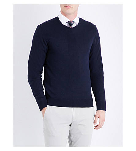RALPH LAUREN PURPLE LABEL Fine-knit cashmere jumper (Classic+chairman+navy