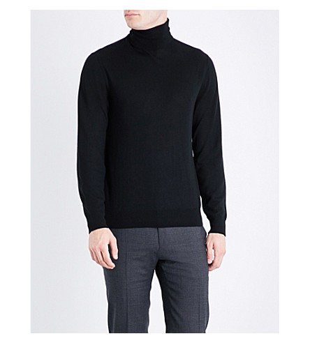 RALPH LAUREN PURPLE LABEL Turtleneck fine-knit cashmere jumper (Classic+black