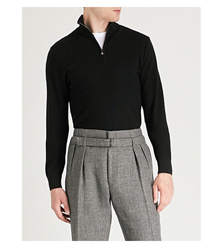 RALPH LAUREN PURPLE LABEL Stand collar wool and cashmere-blend sweatshirt (Classic+black