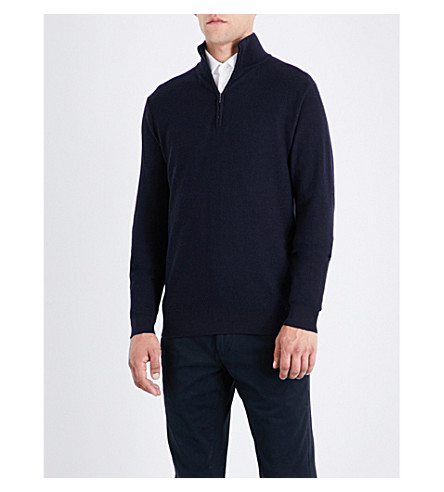 RALPH LAUREN PURPLE LABEL Stand collar wool and cashmere-blend sweatshirt (Classic+chairman+navy
