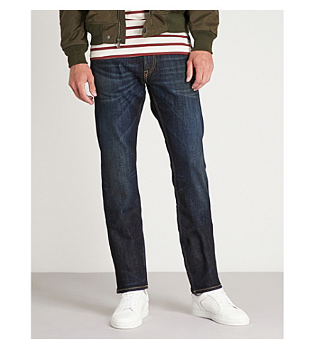 RALPH LAUREN PURPLE LABEL Slim-fit straight stretch-denim jeans (Blue