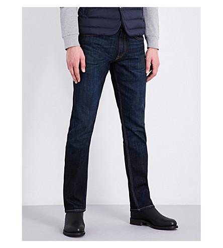 RALPH LAUREN PURPLE LABEL Slim-fit straight stretch-denim jeans (Lt+wt+regal+worn+stretch