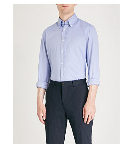 RALPH LAUREN PURPLE LABEL Regular-fit cotton shirt (Lt+blue