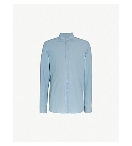 RALPH LAUREN PURPLE LABEL Keaton regular-fit cotton-chambray shirt (Blue
