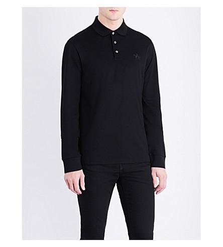 RALPH LAUREN PURPLE LABEL Logo-embroidered cotton-piqué polo shirt (Classic+black