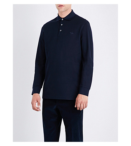 RALPH LAUREN PURPLE LABEL Regular-fit cotton-piqué polo shirt (Classic+chairman+navy
