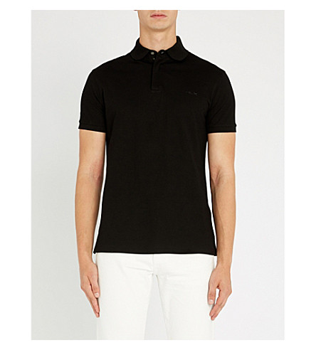 RALPH LAUREN PURPLE LABEL Regular-fit cotton-piqué polo shirt (Classic+black