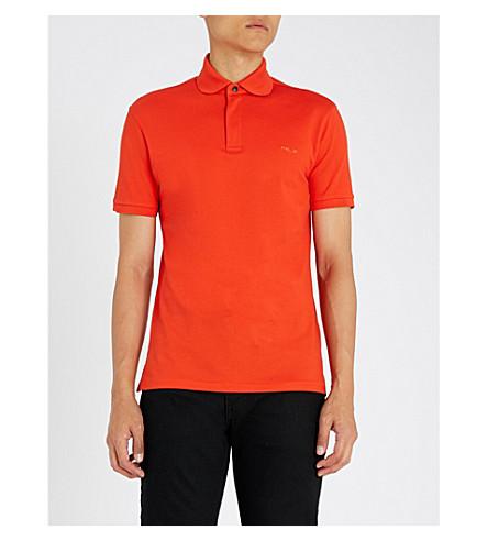 RALPH LAUREN PURPLE LABEL 主动压缩棉质珠地布 Polo 衫 (橙色