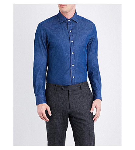 RALPH LAUREN PURPLE LABEL Regular-fit chambray shirt (Dark+wash