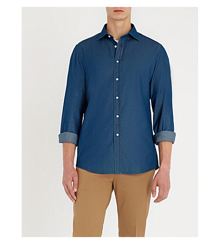 RALPH LAUREN PURPLE LABEL Regular-fit chambray shirt (Navy