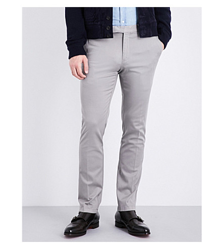 RALPH LAUREN PURPLE LABEL Regular-fit straight stretch-twill chinos (Grey