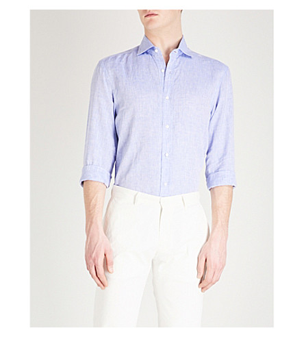 RALPH LAUREN PURPLE LABEL Serengeti regular-fit linen shirt (Blue
