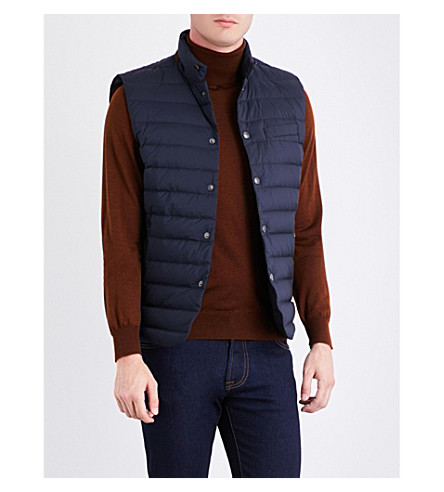 RALPH LAUREN PURPLE LABEL Down-filled padded shell gilet (Classic+chairman+navy