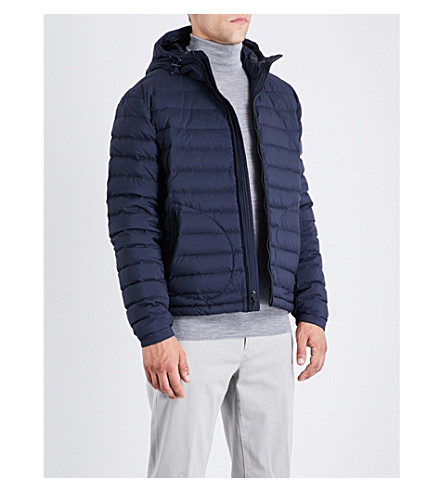 RALPH LAUREN PURPLE LABEL Down-filled quilted shell coat (Classic+chairman+navy