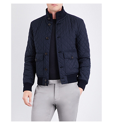 RALPH LAUREN PURPLE LABEL Quilted shell bomber jacket (Classic+chairman+navy