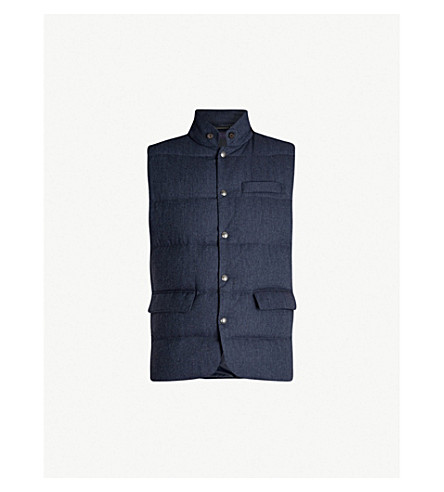 POLO RALPH LAUREN Herringbone padded wool gilet (Dk+french+blue