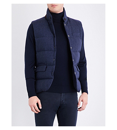 RALPH LAUREN PURPLE LABEL Herringbone padded wool gilet (French+blue