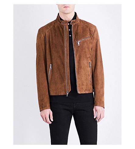 RALPH LAUREN PURPLE LABEL Randall stand-collar suede jacket (Tan