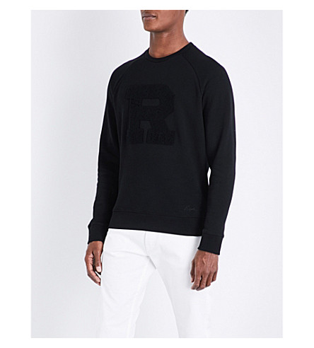 RALPH LAUREN PURPLE LABEL Letter-embroidered cotton-blend sweatshirt (Black