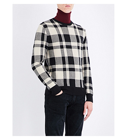 RALPH LAUREN PURPLE LABEL Checked cashmere and wool-blend jumper (Multi