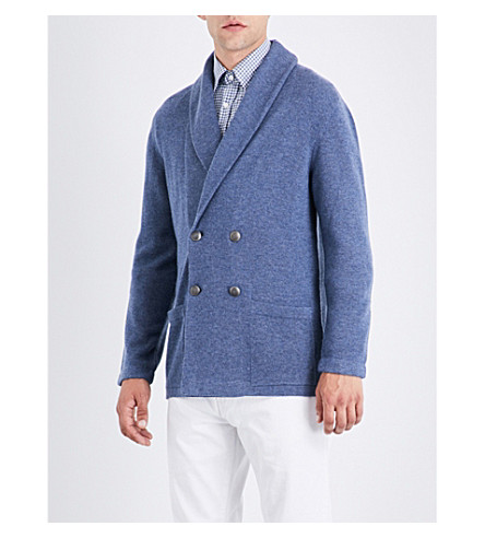 RALPH LAUREN PURPLE LABEL Double-breasted knitted cashmere jacket (Medium+grey+melange