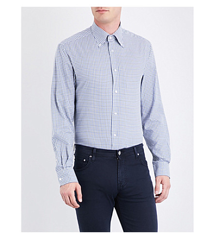 RALPH LAUREN PURPLE LABEL Gingham regular-fit cotton shirt (Blue+and+white