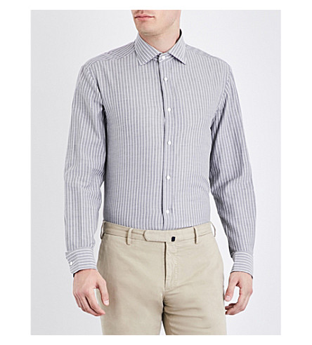 RALPH LAUREN PURPLE LABEL Striped regular-fit cotton shirt (Grey