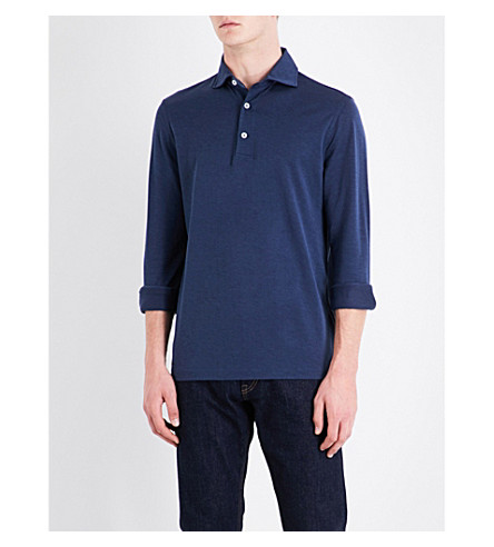 RALPH LAUREN PURPLE LABEL Polo collar cotton piqué top (Navy