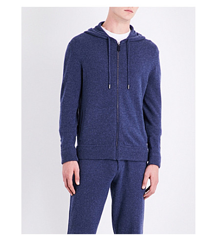 RALPH LAUREN PURPLE LABEL Ribbed knitted cashmere hoody (Indigo+blue