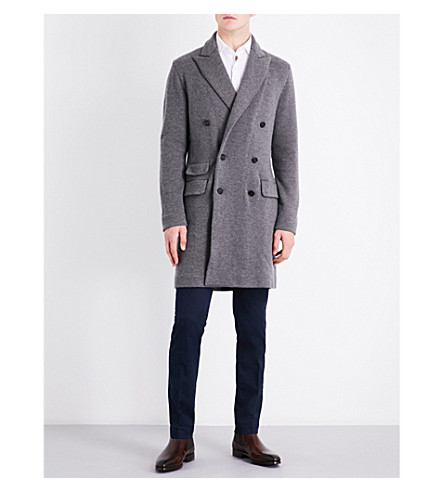 RALPH LAUREN PURPLE LABEL Double-breasted wool and cashmere knitted coat (Grey