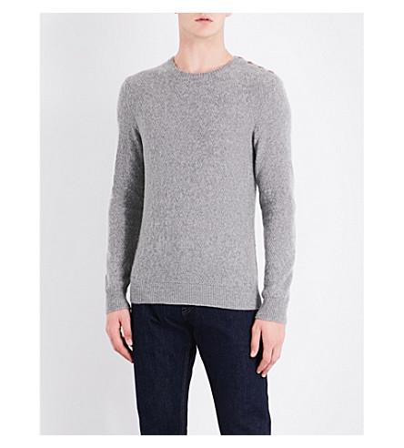 RALPH LAUREN PURPLE LABEL Button-detailed cashmere jumper (Grey