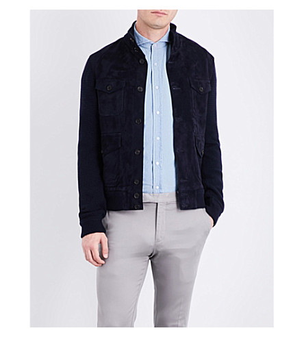 RALPH LAUREN PURPLE LABEL Contrast-front suede and knitted jacket (Classic+chairman+navy